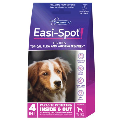 PET SCIENCE EASI-SPOT FOR MEDIUM DOGS 2x1.0ML