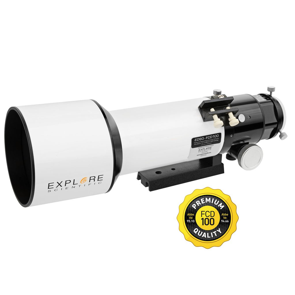 Explore Scientific Classic White Aluminum ED80 f/6 APO Triplet Telescope with Hoya FCD100 optics