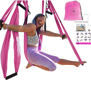 Yoga Hammock Swing Trapeze Set: Ultra Strong Hammock Swing, Large Comfy Handles, Extension Straps + Inversion Video & Pose Guide - Tool for Aerial Yoga, Anti-gravity Sling, Relieve Back Pain