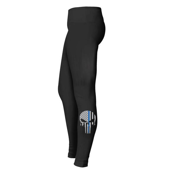 Thin Blue Line Skull Leggings