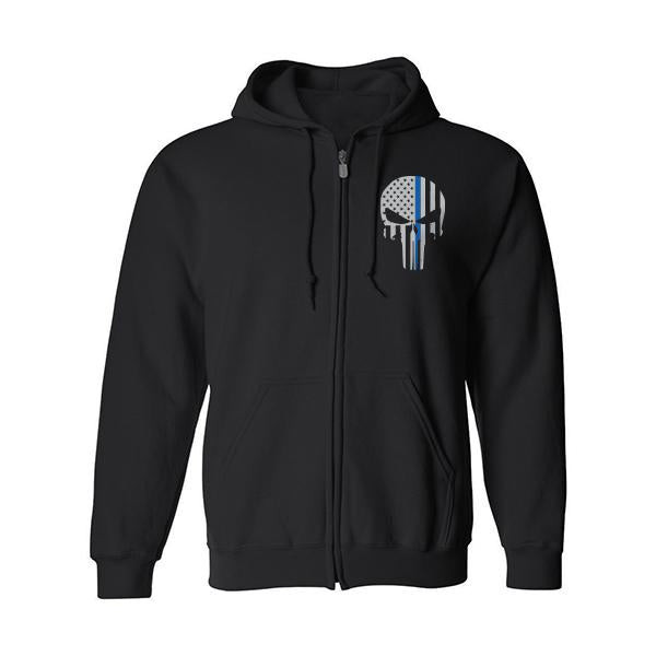 Thin Blue Line Skull Hooded Sweatshit with Full Zipper