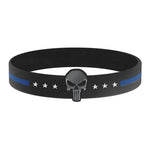 Thin Blue Line Punisher Skull Silicone Bracelet