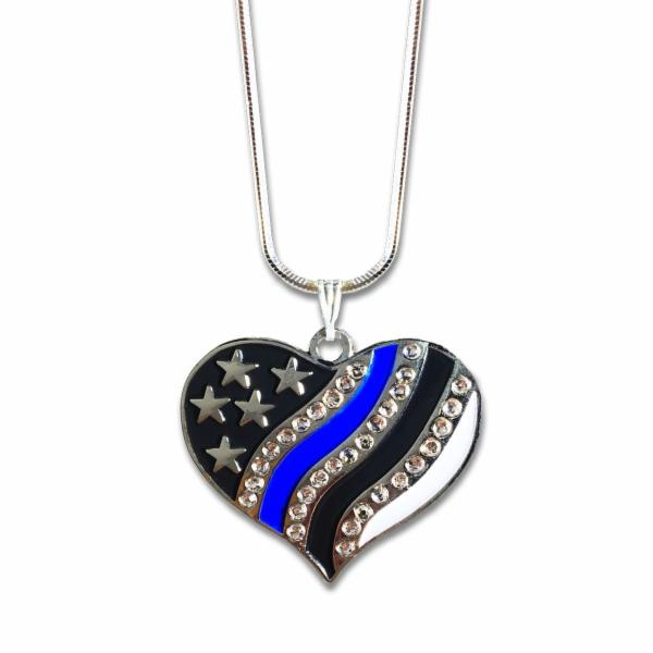 Thin Blue Line Jeweled Necklace