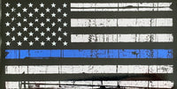Thin Blue Line Rustic Vinyl Flag Sticker