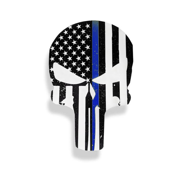 Thin Blue Line American Flag Punisher Sticker