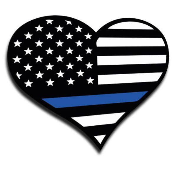 Thin Blue Line American Flag Heart Sticker
