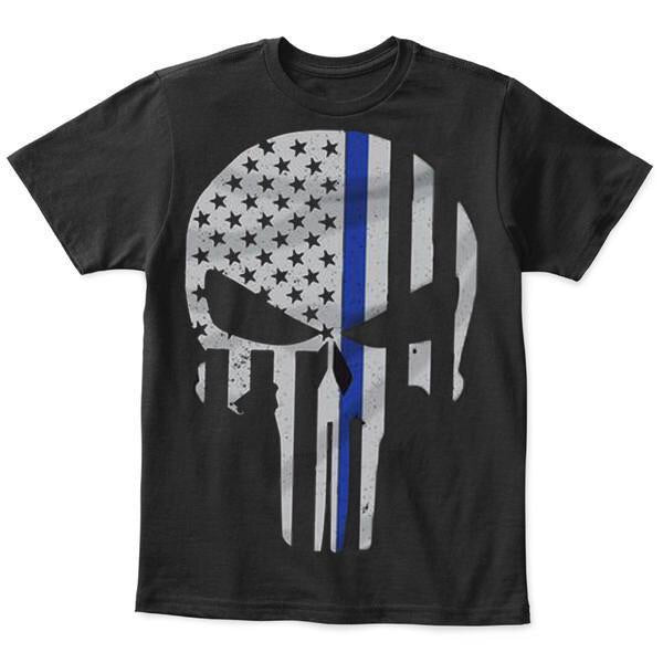 Thin Blue Line Punisher Skull Youth T-Shirt