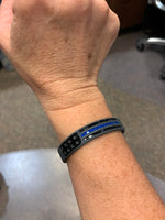 Thin Blue Line Flag Distressed Silicone Bracelet