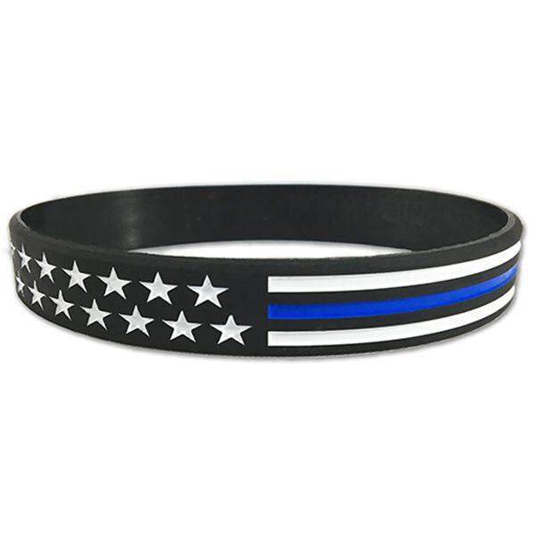 Thin Blue Line American Flag Silicone Bracelet