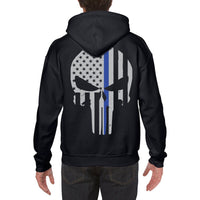 Thin Blue Line Punisher Skull Hoodie