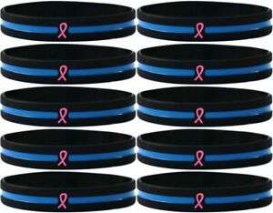 Thin Blue Line Silicone Breast Cancer Pink Ribbon Bracelet