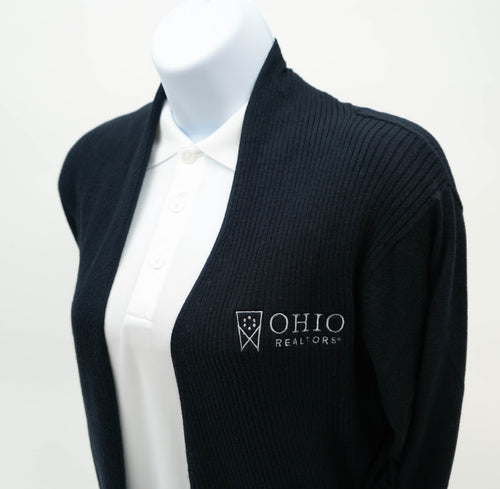 Ladies Open Front Cardigan Sweater in Black