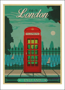 Balzanne Affiche London Telephone Cabin Red Art Decoration