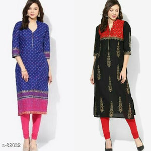 Stylish Printed Cotton Kurti (Combo Of 2)
