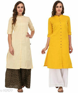 Solid Multicolored Cotton Kurti (Combo of 2)
