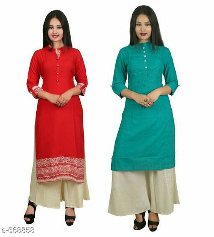 Stylish Women Color Kurti  Combo (Set Of 2)