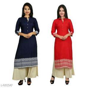 Stunning Printed Women Kurtis  Combo (Set Of 2)