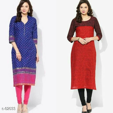 Stunning Block  Printed Cotton Kurti (Combo Of 2)