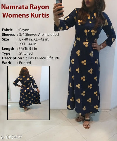 Trendy Blue and Golden Women's Kurti