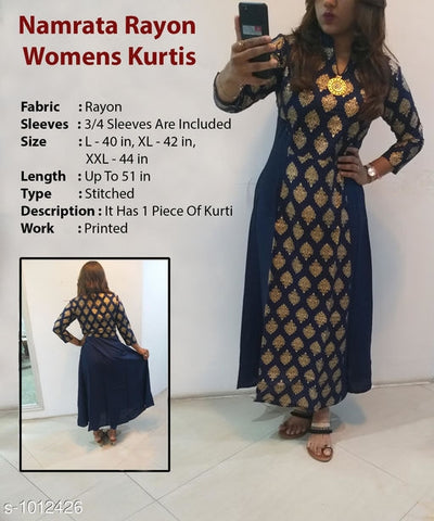 Trendy Blue Anarkali Women's Kurti