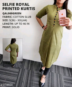 Stylish Light Green Plain Designer Kurti