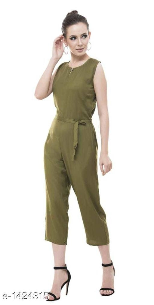 Stylish Mehndi Colour Rayon Women's Jumpsuit
