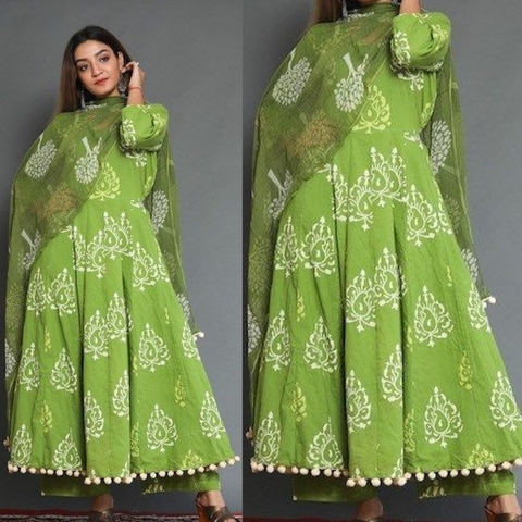 Myhra's Trendy Cotton Floral Print Pleated Kurta Palazzo Dupatta Set (Green)