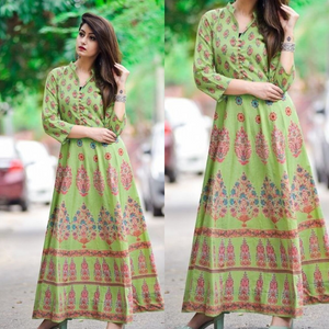 Jivika's Designer Green Cotton kurtis