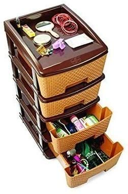4 Tier Compartment Multipurpose Plastic Drawer/Storage Organiser Utility Drawer (colour may vary)