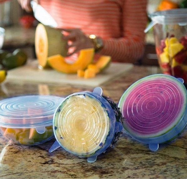 Microwave Safe Silicone Stretch Lids Flexible Covers, Medium, Multi-Coloured-Set of 6