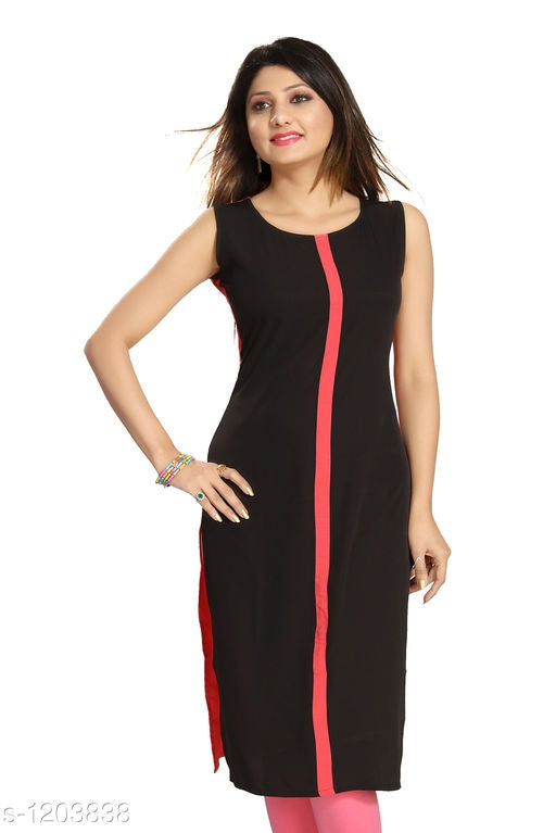 Stylish Black Polyester Women's Kurti