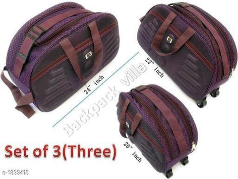 Backpack Villa's Duffle Travelling Bag With Plastic Wheel ( Pack Of 3)(Colour May Vary)