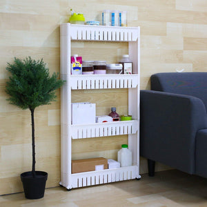4 Layer Storage Organizer Slim Rack Shelf with Wheels