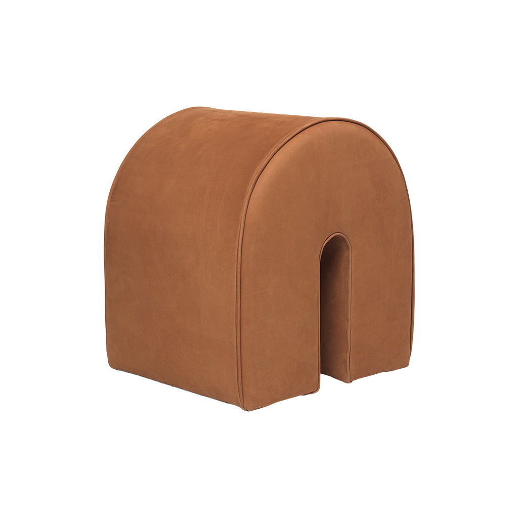 Kristina dam studio curved pouf cognac high quality leather