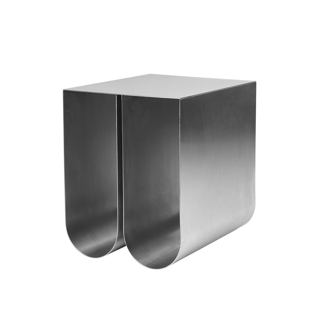 Curved side table stainless steel kristina dam studio