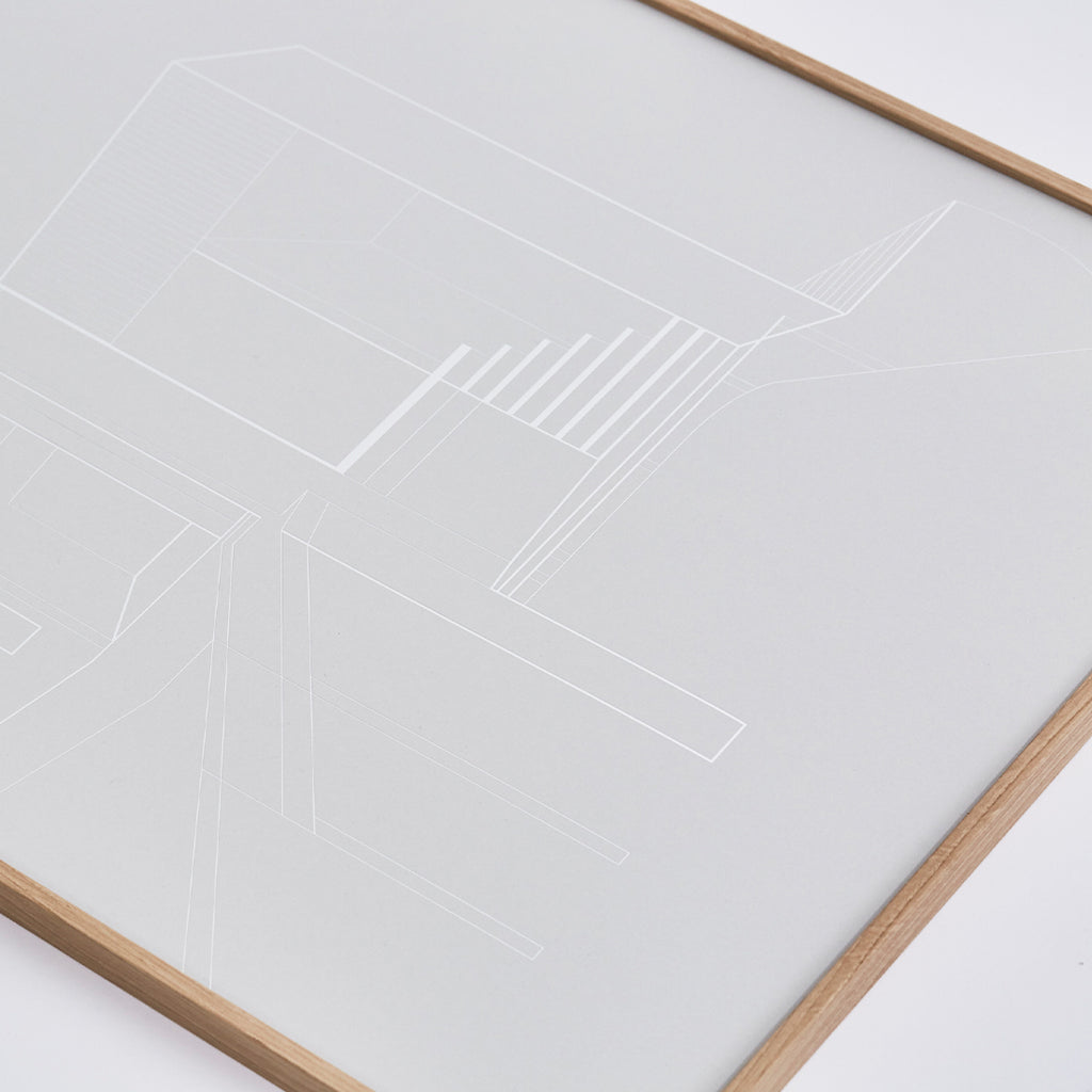 Art poster made of silver foil on light grey paper by Kristina Dam