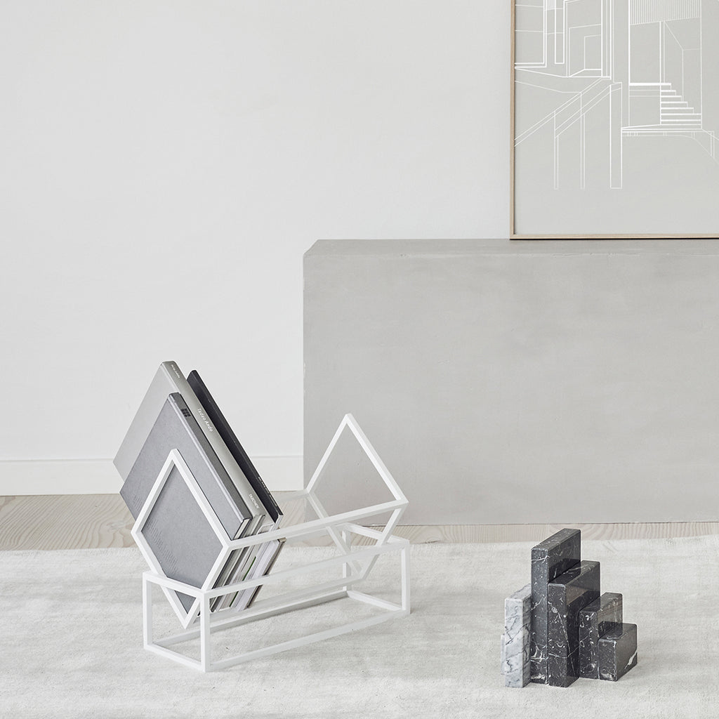 Minimalism styled Danish designed book storage unit by Kristina Dam