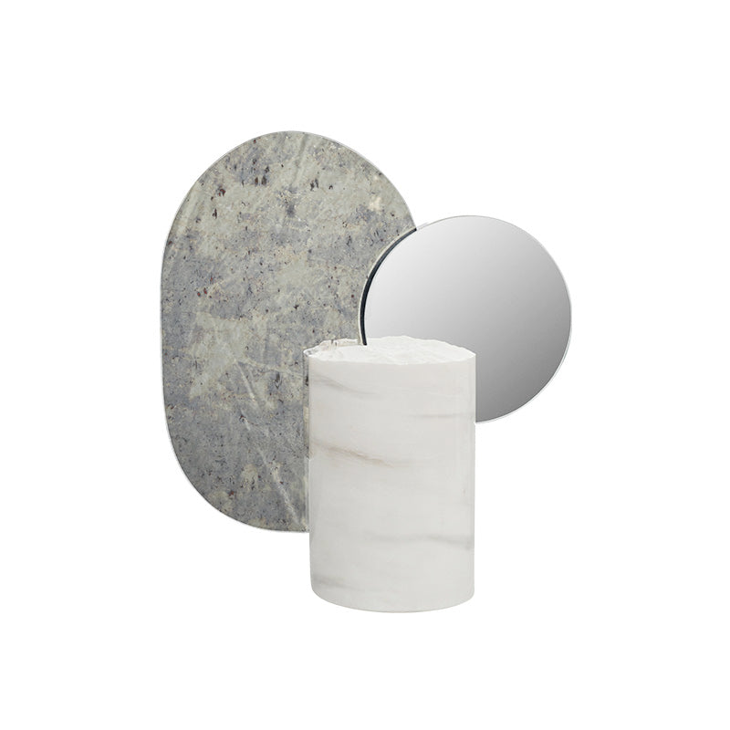 double moon sculpture white marble mirror kristina dam studio