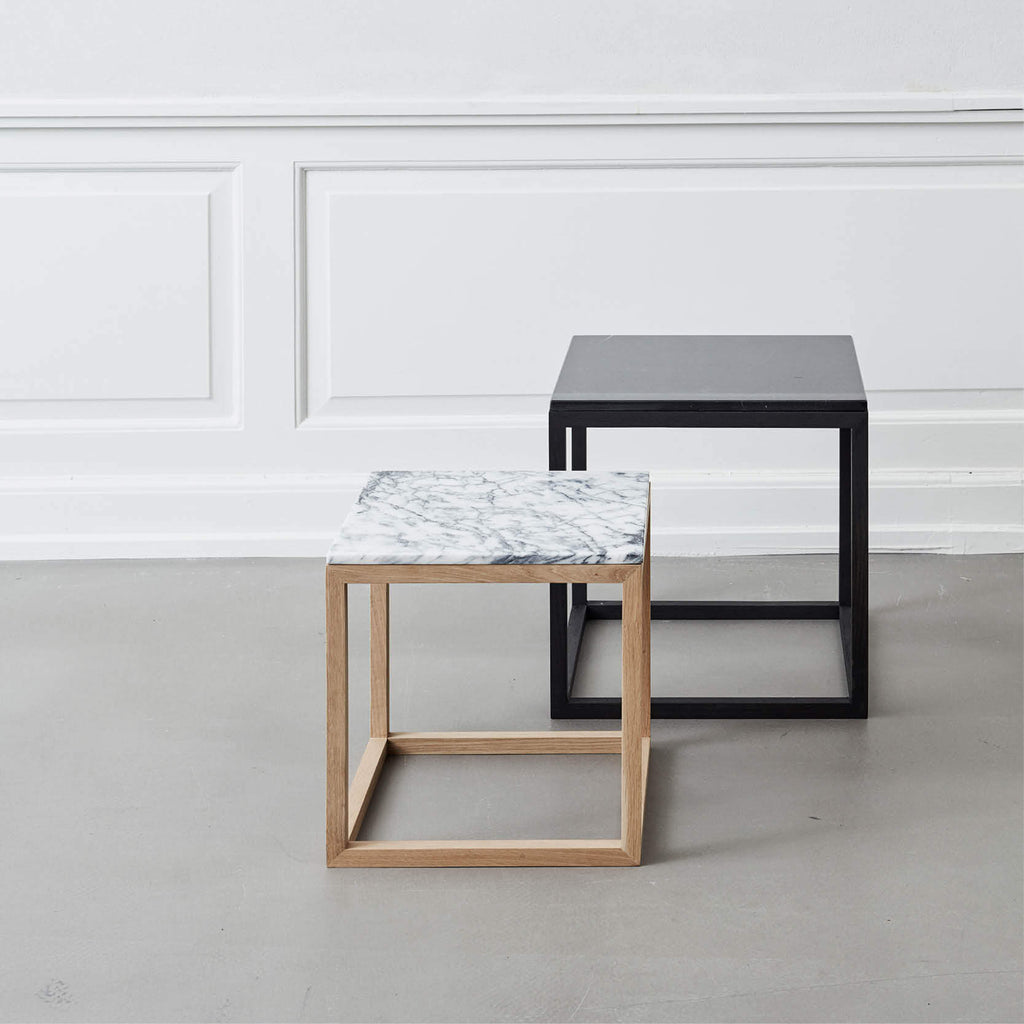 marble top side table grey cube kristina dam studio