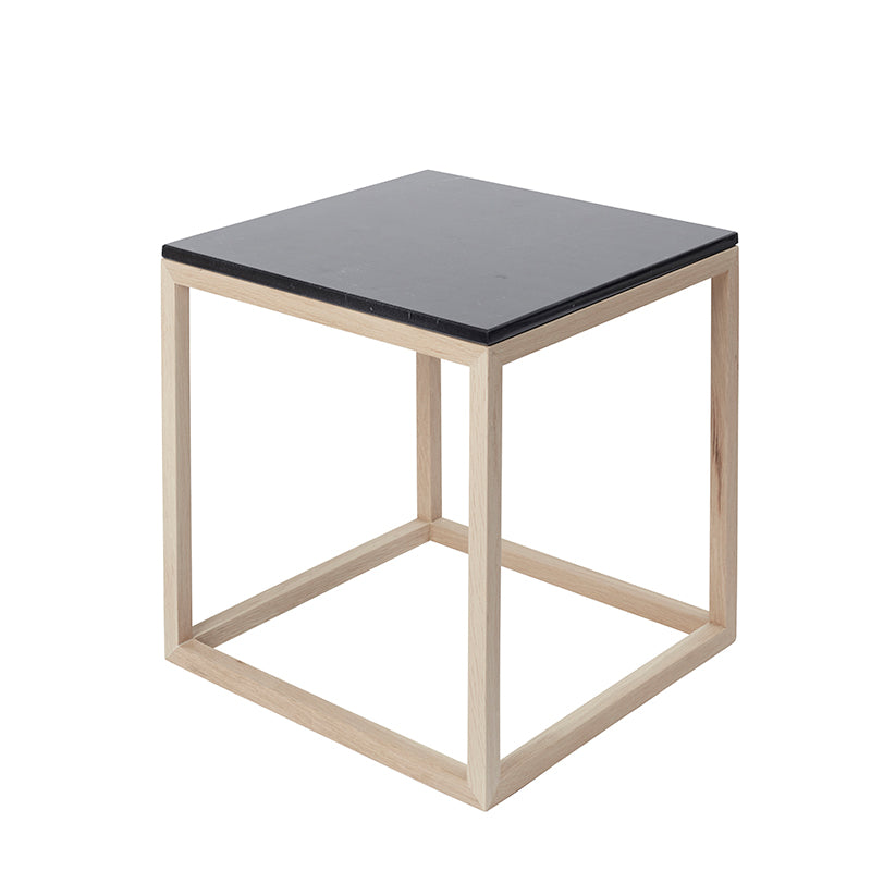 Cuboid table design black marble top oak frame kristina dam