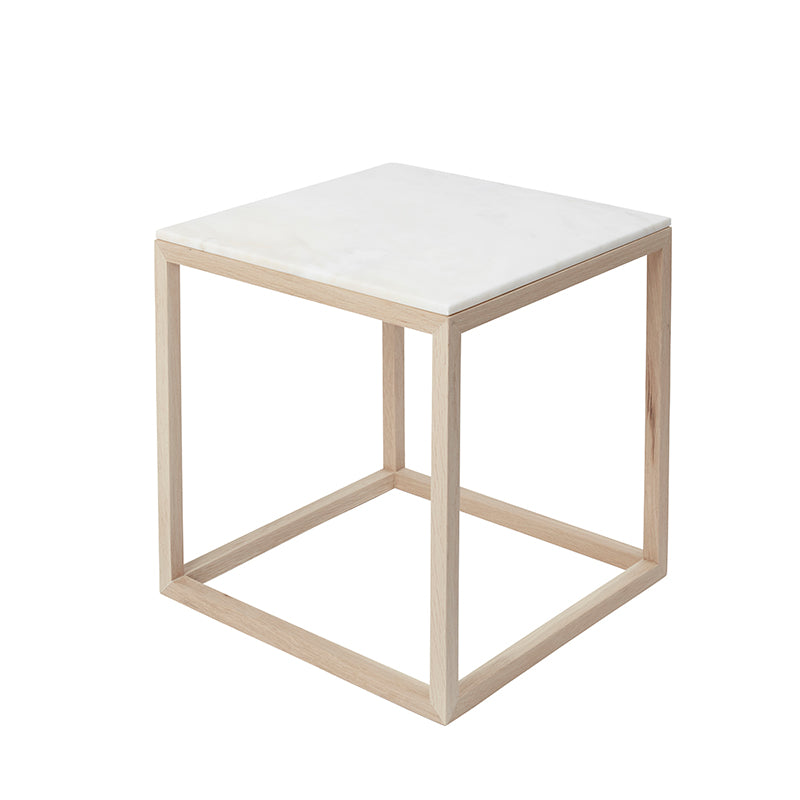 cube table cuboid table white marble kristina dam oak frame