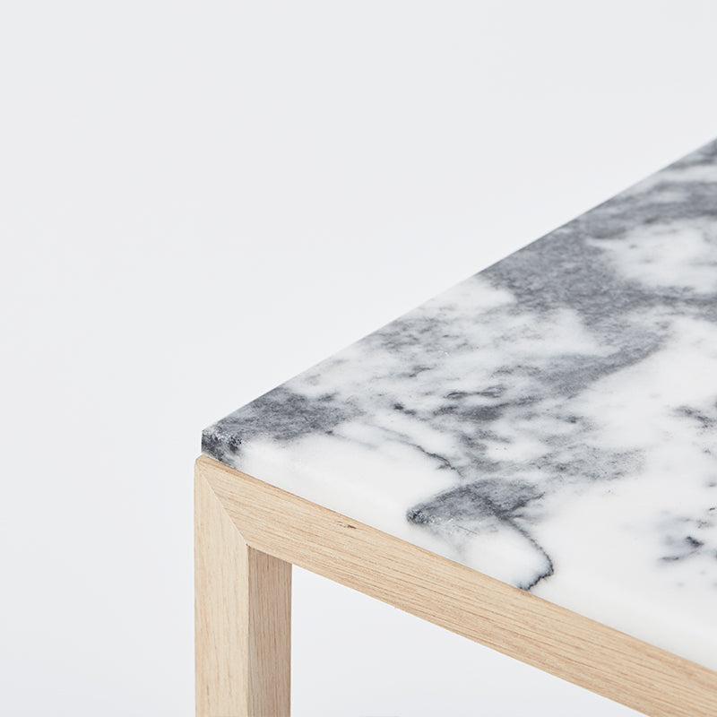 Table tigerskin marble grey kristina dam design oak frame cube table