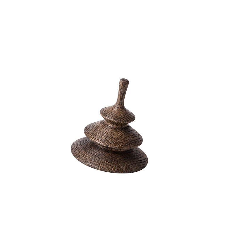 spruce dark oiled oak design spinning top