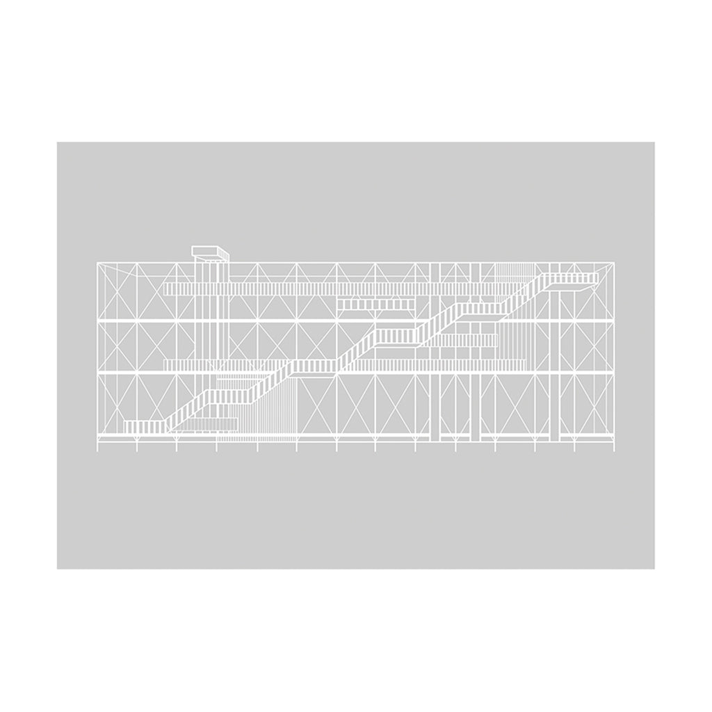 Buy Pompidou poster made of Rainbow Grey Paper with White Glossy Vanish