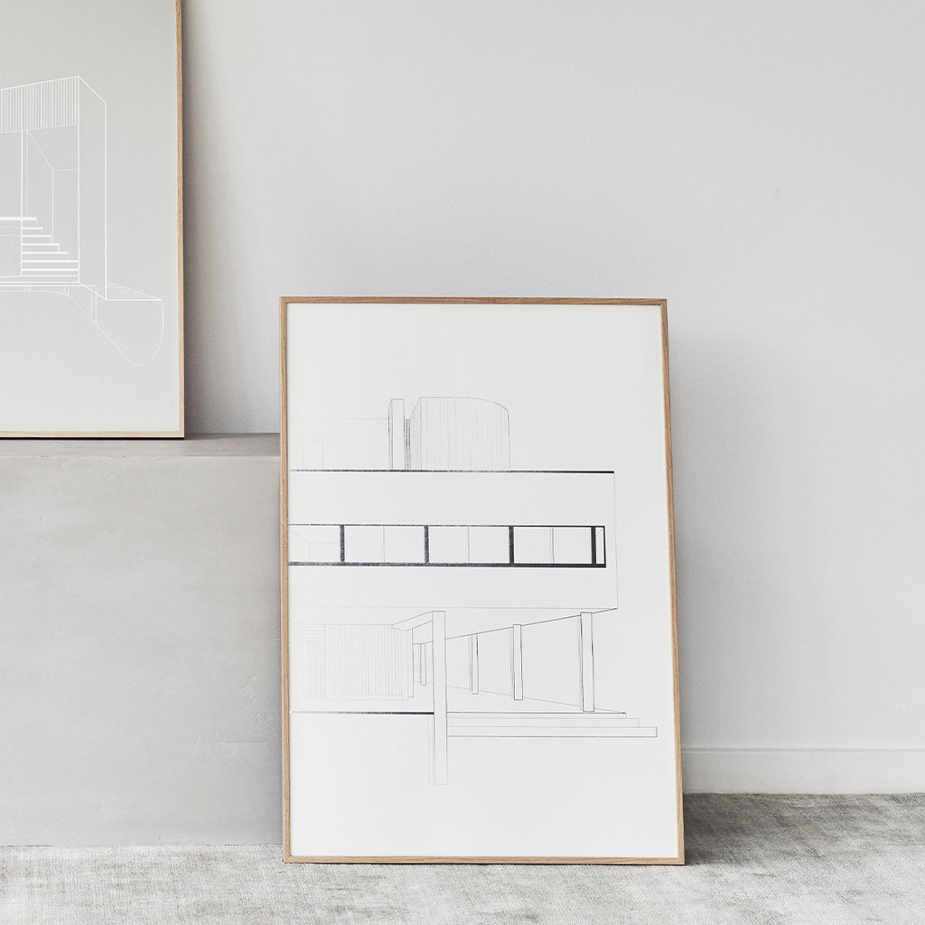 Buy illustration of Le Corbusier's Villa Savoye at Kristina Dam studio
