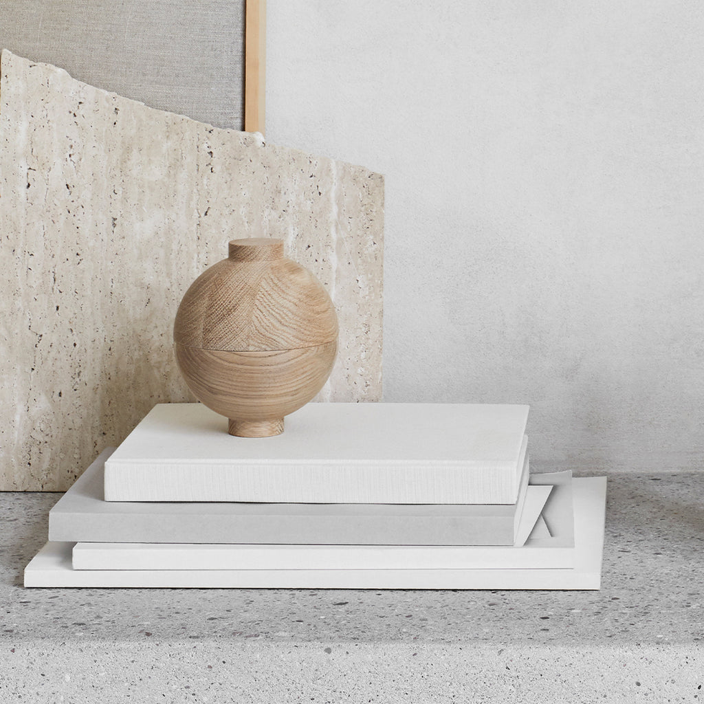 sculptural small storage for accessories design by kristina dam studio xl wooden sphere