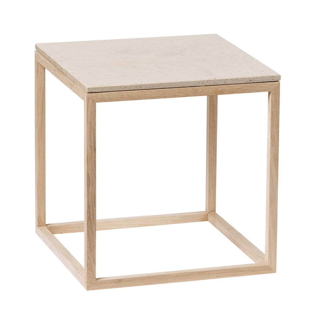 Cube Table I Oak Frame I Mocca Marble Top