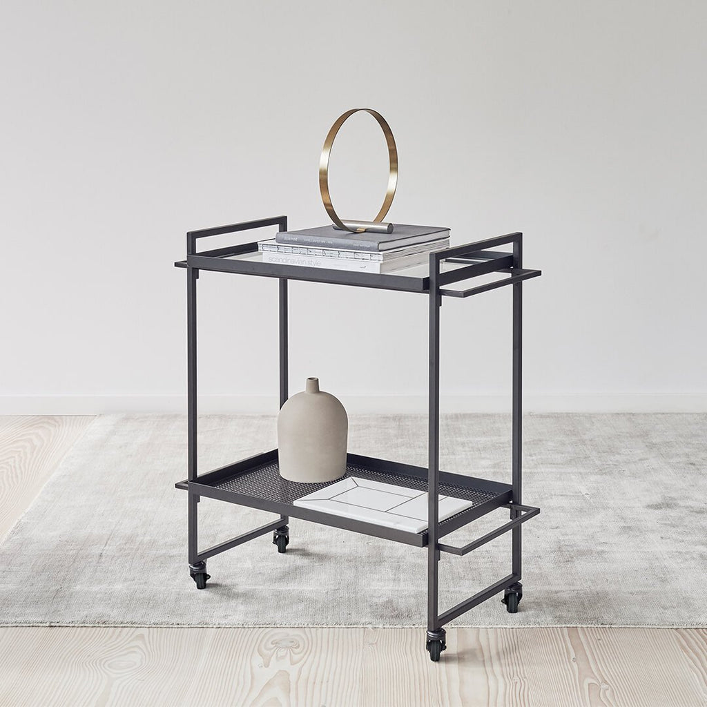 decorative black serving bar trolley cart kristina dam studio