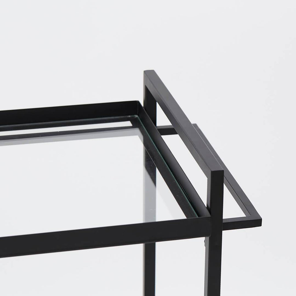 glass and perforated steel serving bar trolley bauhaus trolley