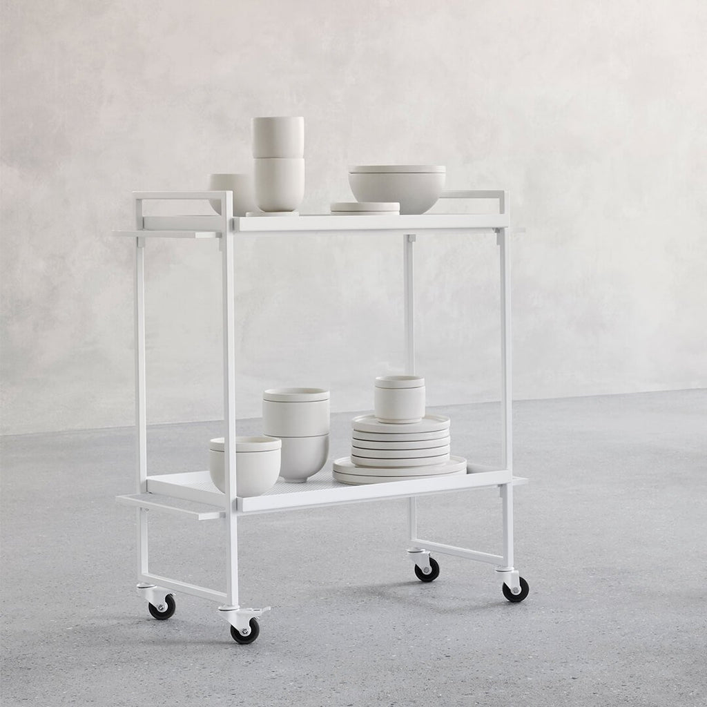 kristina dam studio white serving kitchen bar cart bauhaus trolley